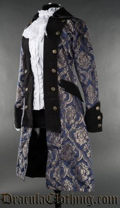 A high quality coat inspired by pirates and officers, with a female cut. The pirate coat has a thick velvet lapels, cuffs and collar and satin lining<br /> Pirate Jacket, Pirate Garb, Pirate Cosplay, Pirate Wench, Steampunk Coat, Steampunk Clothing, Pirate Woman, Pirate Queen, Lady Pirate