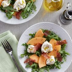 Learn how to prepare this easy Cantaloupe, Prosciutto and Burrata Salad recipe like a pro. With a total time of only 25 minutes, you'll have a delicious dish ready before you know it. Cantaloupe And Prosciutto Salad, Burrata Salad, Burrata Cheese, Veggie Recipes, Real Food Recipes, Salad Recipes, Veggie Meals, Diet Recipes, Salads