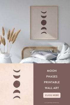 This neutral moon phases printable art features a hand-drawn abstract moon phases illustration in beige and brown colours.  This beige boho printable wall art print is perfect for boho or minimalist home decor. It makes a statement in a modern bedroom or living room and looks great with other art on a gallery wall too. #boho #moon #moonphases #neutral #lunar #beige #brown Mid Century Modern Art, Hanging Art, Wall Art, Watercolor Art Prints, Modern Watercolor Art, Printable Wall Art, Abstract Geometric Art, Modern Art Abstract
