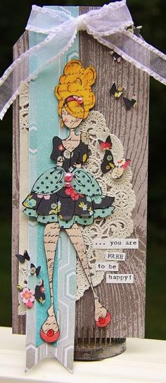 "Tag using Julie Nutting's ""Mindy"" Doll Stamp! Love her stamps!! #julienutting #Prima @Prima @Julie Nutting by roxanne"