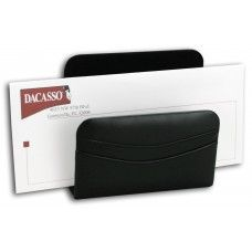 Desk Supplies>Desk Set / Conference Room Set>Holders> Files & Letter holders: Black Leather Letter Holder