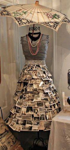 Dress form with photograph skirt. Photos printed on cloth open even more possibilities.