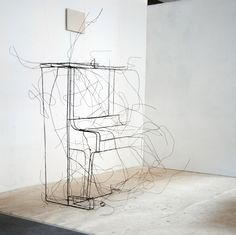 the artist creates the volume of an object through a gossamer-like outline that seems to gradually dissipate.