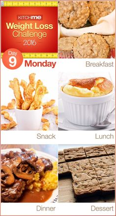 Day 9 Meal Plan Recipes – Weight Loss Challenge for Weight Watchers - Apple Oatmeal Muffins, Crisp and Spicy Cheese Twists, Cheese Souffle, Cube Steak with Gravy and Potatoes, and Chocolate Chip Blondies
