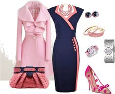 """Love the all pieces individually...just maybe not together (except the dress and the purse. They go together) """"Pretty in Pink Church Outfit"""" by latausha-lee on Polyvore"""