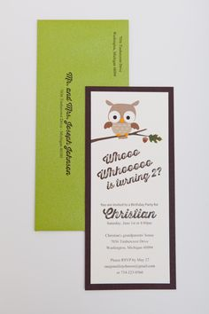 2nd birthday party invitation for boy or girl with owl. www.gourmetinvitations.com