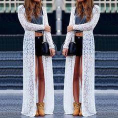 New Women Lace Hollow Sheer Long Cardigan Sun Protection Maxi Dress Coat Jacket #Unbranded #Maxi #Casual