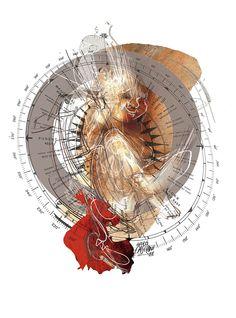 """""""Nacer"""" ilustración de Andrés Casciani para el libro """"Letras con Alma"""" de Gabriel Nobiltá / digital, 2014/  andrescasciani.com/"""
