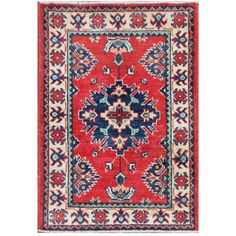 Herat Oriental Afghan Hand-knotted Tribal Kazak Red/ Ivory Wool Rug (1'11 x 2'10) - Overstock Shopping - Big Discounts on Herat Oriental One of a Kind