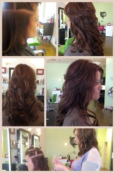 Color and extensions by Dava at The Chameleon Salon in Clarksville, TN. Rich, chocolate color and extensions made this client's hair full and flowing.
