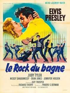 Movie Posters:Elvis Presley, Jailhouse Rock (MGM, French Grande X . French Movies, Old Movies, Vintage Movies, Dean Jones, Metro Goldwyn Mayer, Film Musical, Rock And Roll, Vintage French Posters, Elvis Presley Movies