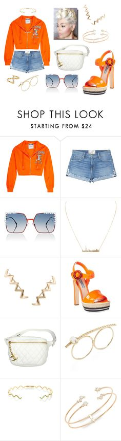 """""""Florida Orange 👄"""" by missactive-xtraordinary ❤ liked on Polyvore featuring Moschino, Sandrine Rose, Fendi, Humble Chic, Prada, Chanel, Jacquie Aiche, Sabine Getty, Nadri and Jules Smith"""