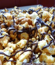 Peanut Butter Cup Popcorn - their cookbook also says to add 2 c mini Reese's PB cups roughly chopped, don't leave that out!