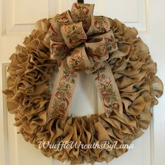 Burlap Christmas Wreath, Burlap Wreath, Christmas Wreath, Holiday Wreath, Front Door Wreath by WruffleWreathsbyLana on Etsy