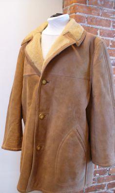 Vintage Shearling Sheepskin Jacket Size 50 by TheOldBagOnline on Etsy