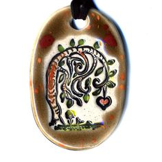 Viney Tree Ceramic Necklace in Spotted Brown by surly on Etsy, $18.00