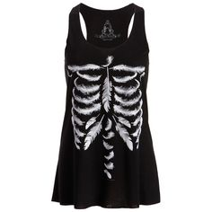 Womens Black Feather Skull Skeleton Loose Fit Muscle Tee Tank Top:... ($27) ❤ liked on Polyvore featuring tops, skeleton top, muscle tshirt, skeleton tank top, skeleton tank and loose fitted tank tops