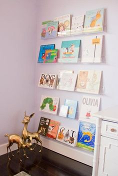 Bookshelves toddler rooms clear plastic acrylic kids bookshelf nursery throughout baby room remodel bookcase in children s Kids Room Bookshelves, Nursery Bookshelf, Floating Bookshelves, Bookshelf Ideas, Girls Bookshelf, Bookshelf Wall, Wall Shelving, Girl Room, Baby Room
