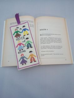 Handmade / Be A Voice / Echo / Humanity / Cross Stitch Bookmark / Book Lovers / Bookmark / Bookworm / Gift by AtelierbyMsAries on Etsy
