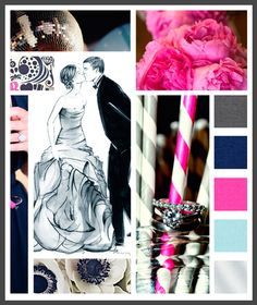 Lizzy B Loves visual + sparkle = inspiration : winter wedding with a pop (click on image to view in full) #wedding_inspiration #wedding_color_palette #color_palette_inspiration
