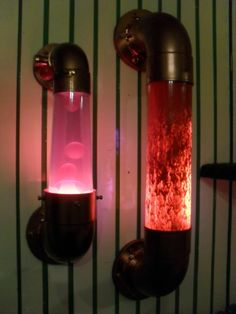 pvc pipe Steampunk light. Too cool! Finally find a way to do something with that glitter/lava lamp!