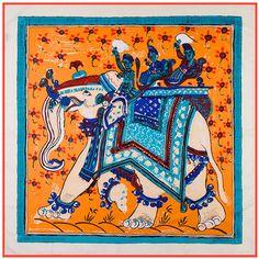 [POBING]100cm*100cm Silk Women Square Scarf Thailand National Wind Elephant Print Scarves High Quality Retro Brand H Shawl #Affiliate