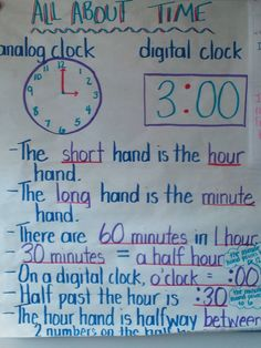 Time anchor chart   http://confessionsofaprimaryteacher.blogspot.com/2012/04/telling-time-to-hour-and-half-hour.html?utm_source=feedburner_medium=feed_campaign=Feed%3A+ConfessionsOfAPrimaryTeacher+%28Confessions+of+a+Primary+Teacher%29_content=Google+Reader