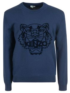 Kenzo Tiger Sweater In Navy Kenzo, Men Sweater, Mens Fashion, Boutique, Navy, Long Sleeve, Model, Sweaters, Outfits