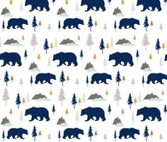 Bears Mountains Forest fabric by sproutz on Spoonflower - custom fabric