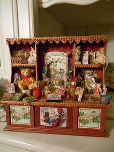 Christmas Dollhouse Miniatures.Sled Christmas Xmas Santa Room Box Winter House Store Shop