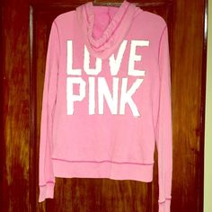 """Victoria's Secret PINK Zipper Hoodie Sweatshirt Sm This is a Victoria Secret """"Love Pink"""" hoodie with a zipper. It is a size small but it fits more like a medium. It was worn a few times and washed. It does have wrinkles as you can see in photos but with an iron, it'll look good as new!   Feel free to ask any questions. Don't forget to check out my other listings to find awesome qualify items at great prices! Victoria's Secret Sweaters"""