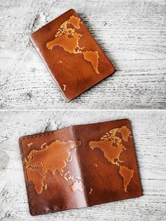 Leather passport cover with embossed world map, the perfect gift for graduates and travelers. Fantastic travel inspiration for free spirits. Style ONE - North America & South America on FRONT (image O