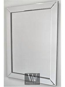 Milan Silver Glass Framed Rectangle Art Deco Wall Mirror 36