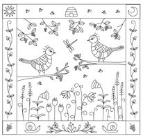 Free Embroidery Patterns Page 1 - The Floss Box Freebies Embroidery Patterns Free, Embroidery Applique, Cross Stitch Embroidery, Stitch Patterns, Mandala, Two Birds, Doodle Drawings, My Scrapbook, Coloring Pages
