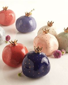 The Pomegranate Ceramics - Colors: Cobalt Ultraviolet, Ivory, Indigo, Powder Blue, - Handmade Stoneware. Quirky fruit installations at our favorite Andaz Delhi inspired us to create this fun tabletop accessory.