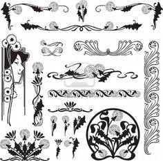 een set van patronen van de Art Nouveau met paardebloemen voor de pagina-ontwerp Stockfoto