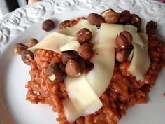 risotto of red wine with nuts and mountain cheese Red Wine, Waffles, Pizza, Mountain, Cheese, Breakfast, Beautiful, Food, Friends