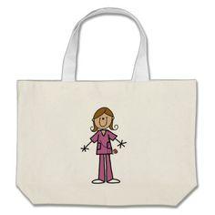 Medium Skin Stick Figure Female Nurse Canvas Bags