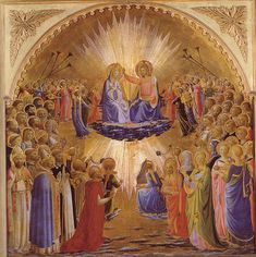 The Coronation of the Virgin - Fra Angelico Italian Renaissance Art, Renaissance Kunst, Renaissance Artists, Medieval Art, Giorgio Vasari, Fra Angelico, Catholic Art, Religious Art, Italian Paintings