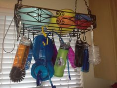 A hanging pot or utensil rack is an easy place to store and dry your CamelBak bottles and reservoir--especially if each member of your family uses one. A clean bottle keeps water tasting great. And keeping it in a convenient location makes you more likely to use it.