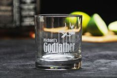 Godparent whisky rocks glass single empty. Perfect gift idea for baptism, first-communion! Etched by GodfatherBaptismGifts.com
