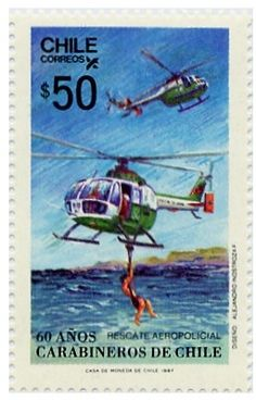 Sello: Carabineros de Chile (Chile) (Militares) Mi:CL 1178,Sn:CL 749,Yt:CL 789 Chile, Postage Stamp Art, Earth Surface, Chemical Formula, Argentine, Fauna, South America, World, Postage Stamps