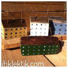 Repurposed Reclaimed wood Rustic Primitive Folk art Saltbox houses - by Annette Gambrel http://ihklektik.com