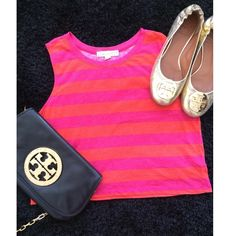Retro Crop Top Retro Crossbody in pink and orange stripes. Only worn once. Super cute!!! Tops Crop Tops