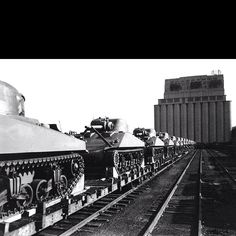 Sherman tanks fresh from the Baldwin Locomotive plant 1944 in the United States