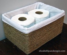 After: Jute Storage Basket, made out of a cardboard box! Repurposed upcycled junk #o.m.genius