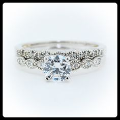 Moissanite Wedding Set With Diamond Side Stones 14k Gold - Ring Name: Dainty Band on Etsy, $1,464.37 AUD