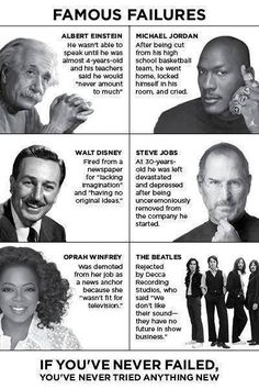 Don't be afraid of failure Failure Quotes, Success Quotes, Feeling Like A Failure, Wall Quotes, Me Quotes, Inspiring Quotes About Life, Inspirational Quotes, Rock Bottom Quotes, Famous Failures