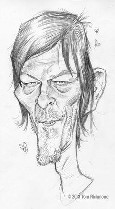 Norman Reedus por Tom Richmond - Caricaturas de Famosos