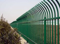 Top vertical tube pressed to spear by heavy duty punch and bent by bow type for anti climb and high security. Palisade Fence, Rolling Shutter, Door Gate Design, Wrought Iron Fences, Steel Fence, Chain Link Fence, Galvanized Steel, Bikers, Adobe